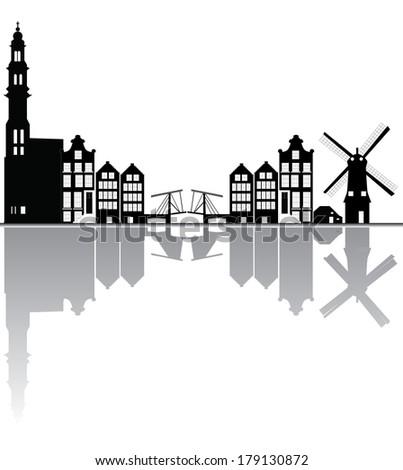 Amsterdam city skyline - generic buildings, cityscape of Amsterd Stock photo © Winner