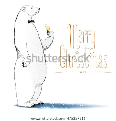 merry christmas greetings with bears hand drawn polar bear cute bear set mother and baby bears c stock photo © marish