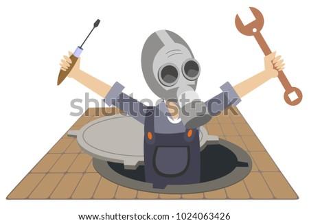 Werknemer gasmasker werken riool illustratie geïsoleerd Stockfoto © tiKkraf69