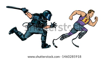 discrimination against persons with disabilities. athlete runner. riot police with a baton Stock photo © studiostoks