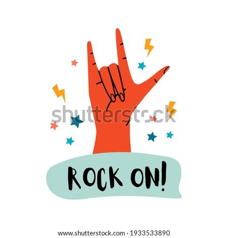 Signe de la main Rock amusement vignette coloré main Photo stock © FoxysGraphic