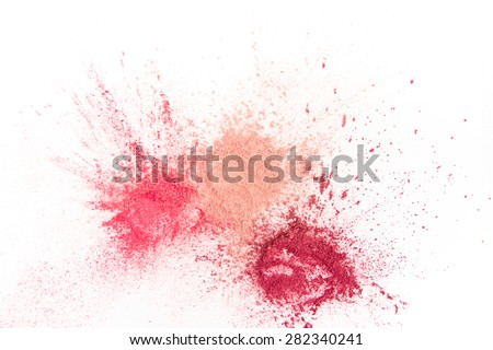 Stok fotoğraf: Makeup Brushes On White Background With Colorful Pigment Powder