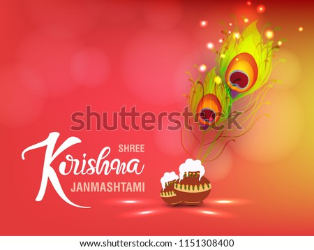 happy janmashtami celebration of shree krishna greeting design Stock photo © SArts