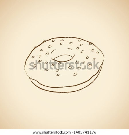 Charcoal Drawing of a Doughnut Icon on a Beige Background Vector Stock photo © cidepix