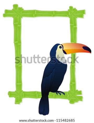 вектора бамбук кадр тропические птиц изолированный Сток-фото © dashadima