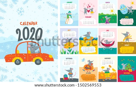 2020 year of rat according to Chinese calendar. Cute mouse sits by cup of coffee and eats cookie 202 Stock photo © orensila