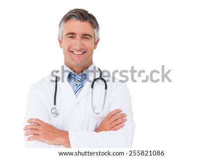 Friendly Professional medical doctor in white uniform coat holdi Stock photo © Freedomz