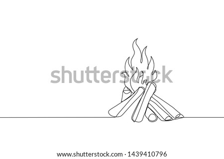 Bonfire icon. Campfire sketch line art drawing style. Continuous line art drawing. Vector outline il Stock photo © ESSL