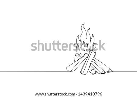 Vreugdevuur icon kampvuur schets lijn kunst Stockfoto © ESSL