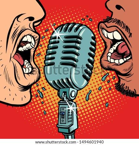 Black and white man vintage retro microphone. Music standup concert radio podcast blog Stock photo © rogistok