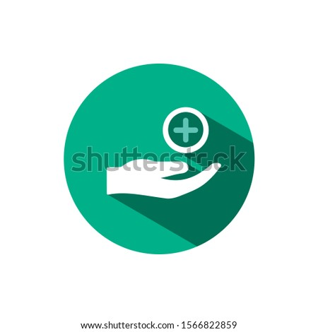 Hand icon and pharmacy cross with shadow on a green circle. Vector pharmacy illustration Stock photo © Imaagio