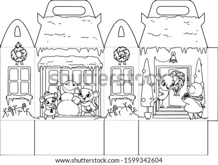 Stock photo: Printable Coloring gift house with happy holiday rats for children