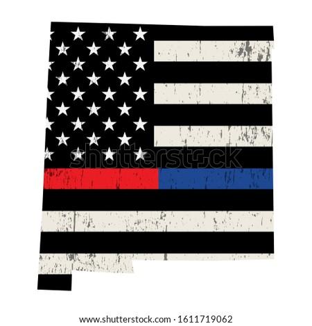 Nowy Meksyk policji strażak wsparcia banderą amerykańską flagę Zdjęcia stock © enterlinedesign