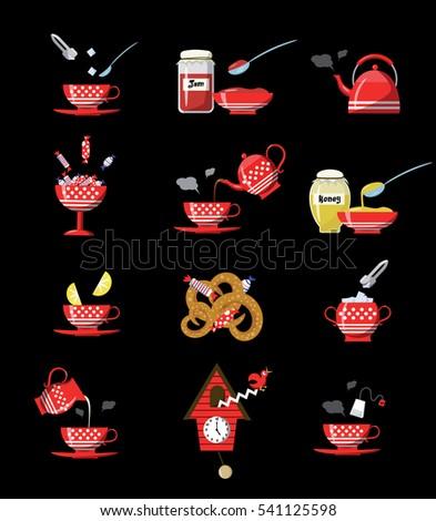Afternoon tea, Tea Ceremony, Teapot Honey Cups of tea with cookies Stock photo © Illia