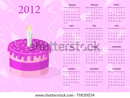European Vector Calendar 2012 With Cake Photo stock © Elisanth