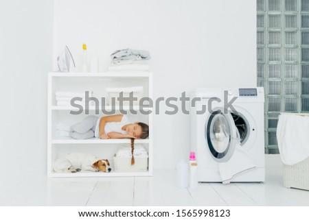 Cozy washing room with washer, sleeping girl with dog on shelf, bottles of liquid powder on floor, b Stock photo © vkstudio