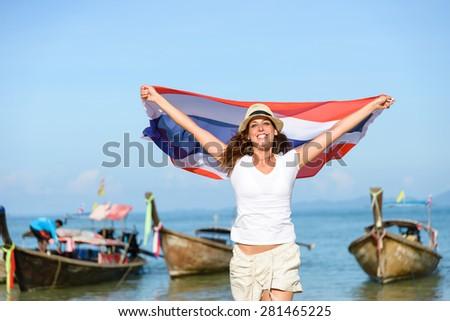 Szczęśliwy kobieta plaży Tajlandia banderą Zdjęcia stock © galitskaya