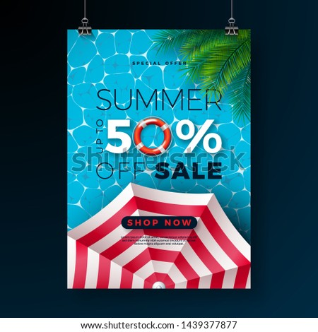 Summer Sale Poster Design Template With Float Sunshade And Tropical Palm Leaves On Blue Pool Backgr Stok fotoğraf © articular