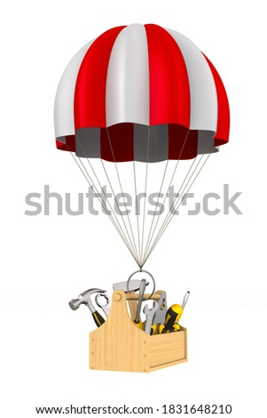 parachute and spanner on white background. Isolated 3D illustrat Stock photo © ISerg