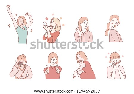 Cute illustrations belle jeune fille expressions faciales Photo stock © ukasz_hampel