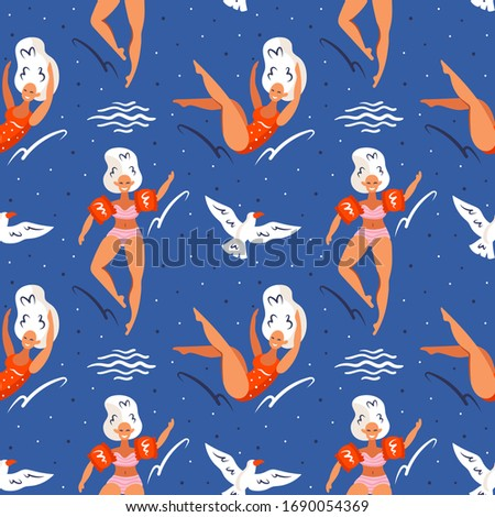 Little seagull flying in the sky and young smiling girls with white hair, swimming suits and red inf Stock photo © foxbiz