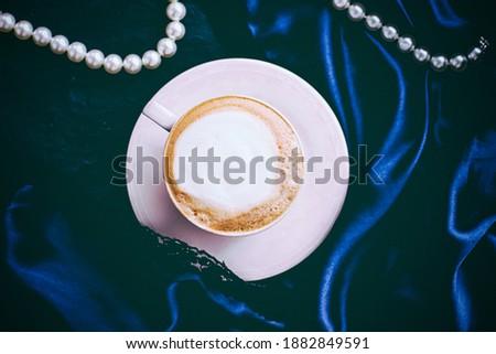 Tasse cappuccino déjeuner satin perles bijoux Photo stock © Anneleven