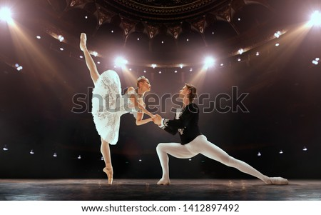 Young ballerina is posing and dancing classical ballet against r Stock photo © boggy