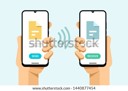 Smartphone mockup in human hand. Wireless send and receive file from one to another phone. Vector co Stock photo © karetniy