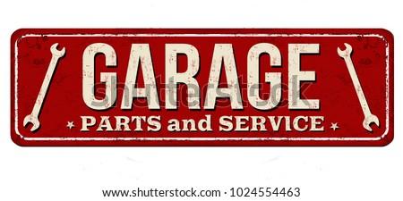 Garaż vintage zardzewiałe metal podpisania naprawa samochodów Zdjęcia stock © gomixer