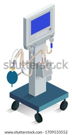 Modern ventilator breathing medical product hospital equipment. 3d isometric icon Stock photo © orensila