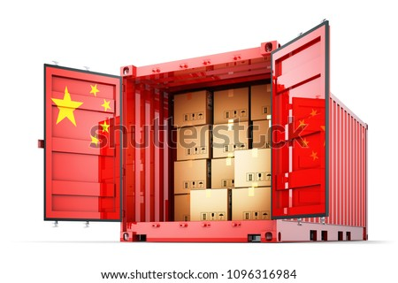 delivery merchandise from china on white background. Isolated 3D Stock photo © ISerg