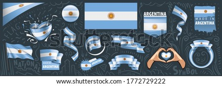 Vector set of the national flag of Argentina in various creative designs Stock photo © butenkow