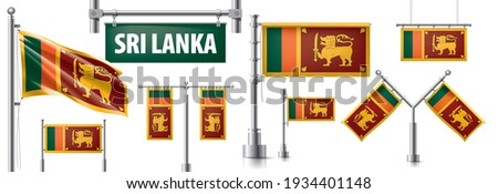 Vektor szett zászló Sri Lanka különböző kreatív Stock fotó © butenkow