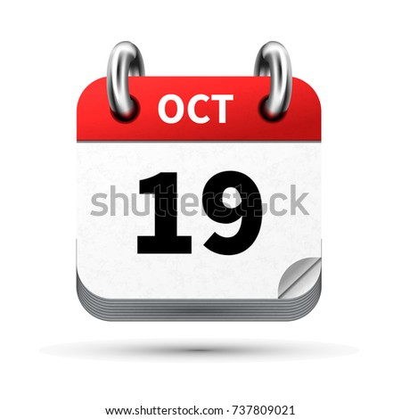 Bright realistic icon of calendar with 19 october date isolated on white Stock photo © evgeny89