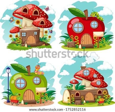 набор изолированный гном сказка домах Cartoon Сток-фото © bluering