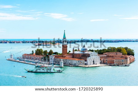 Aerial view of Venice lagoon with boats and San Giorgio di Maggiore church. Venice, Italy Stock photo © dmitry_rukhlenko