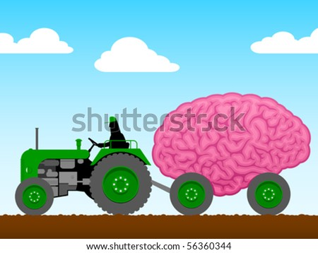 small tractor pulling a huge brain stock photo © adrian_n