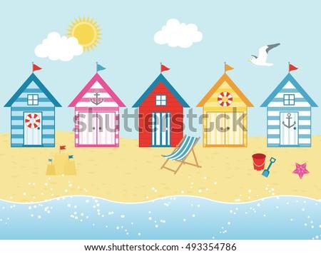 renkli · plaj · mavi · gökyüzü · üç · üst - stok fotoğraf © capturelight