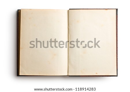 Open ancient book with blank pages, isolated on white background stock photo © zeffss
