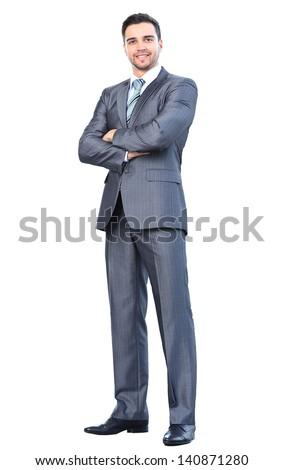 Kaukázusi üzletember öltöny áll egészalakos izolált Stock fotó © Qingwa