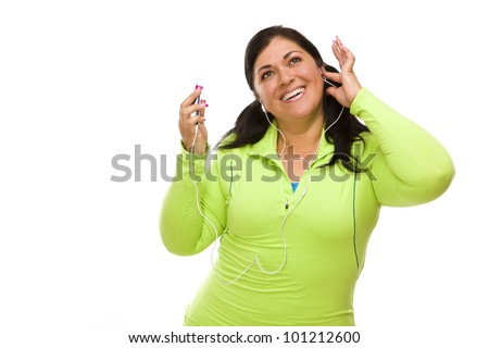 Hispanic Woman In Workout Clothes with Music Player and Headphon Stock photo © feverpitch