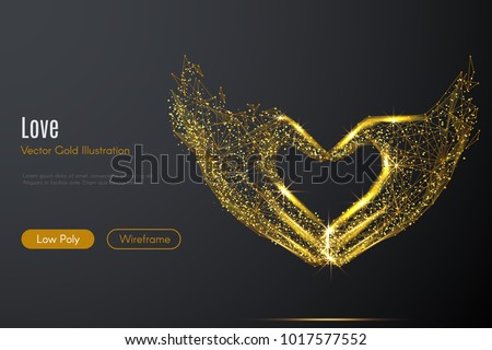 Gold Hearts On A Heart Background Showing Love Romance And Roman stock photo © stuartmiles