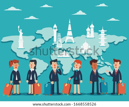 Business man with suitcase on world map background. Vector illus stock photo © leonido