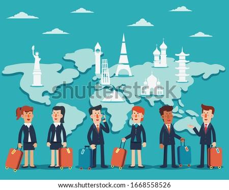 hombre · de · negocios · maleta · mapa · del · mundo · vector · hombre · mundo - foto stock © leonido