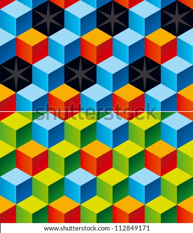 Contrast colors child bricks 3D pattern with stars. Vector Illus Stock photo © fixer00