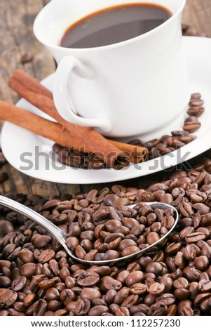 Coffee Decorative presented, surrounded by coffee beans and scoo Stock photo © justinb