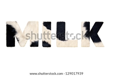 milk word from cow fur isolated on white background with clipping path stock photo © ozaiachin