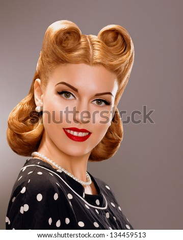 Stock photo: Old Postcard - Pin Up Girl. Retro Styled Exquisite Woman in Reverie. Vintage Style