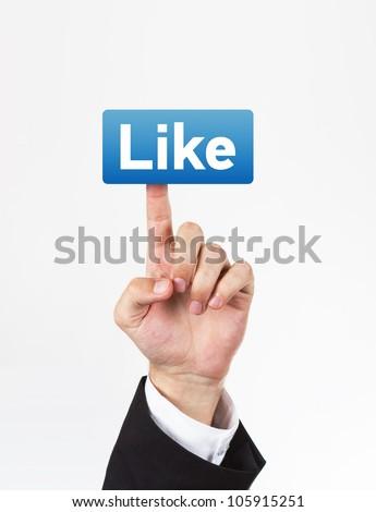 Сток-фото: деловой · человек · прикасаться · кнопки · большой · палец · руки · вверх