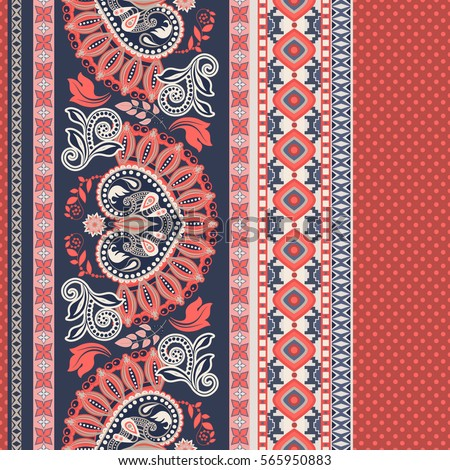 vector seamless spring  pattern with paisley elements and flower Stock photo © alexmakarova